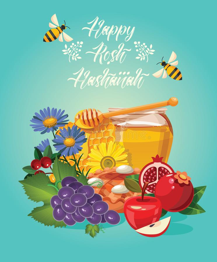 Happy Rosh Hashanah vector greeting card. New year poster in modern style. Shana tova royalty free illustration