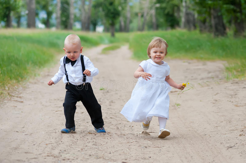 Happy running babies royalty free stock images
