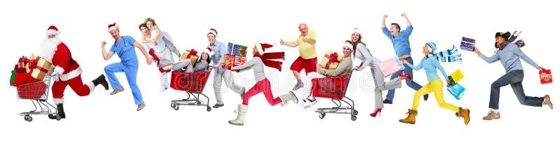 Happy running Christmas people. stock photo