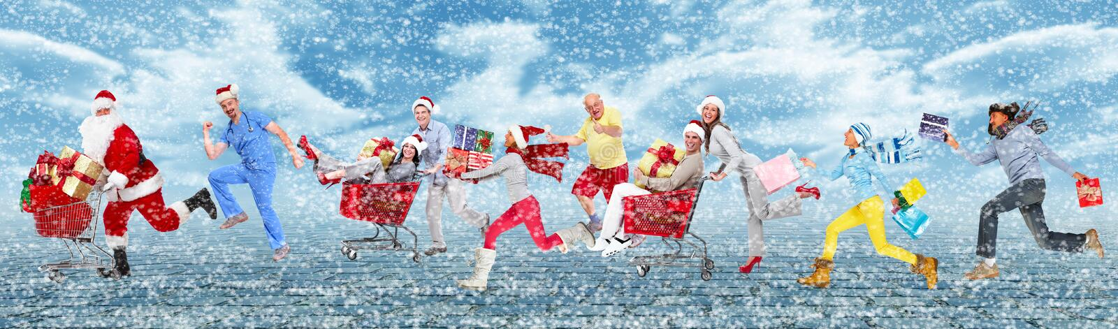 Happy running Christmas people. stock photography