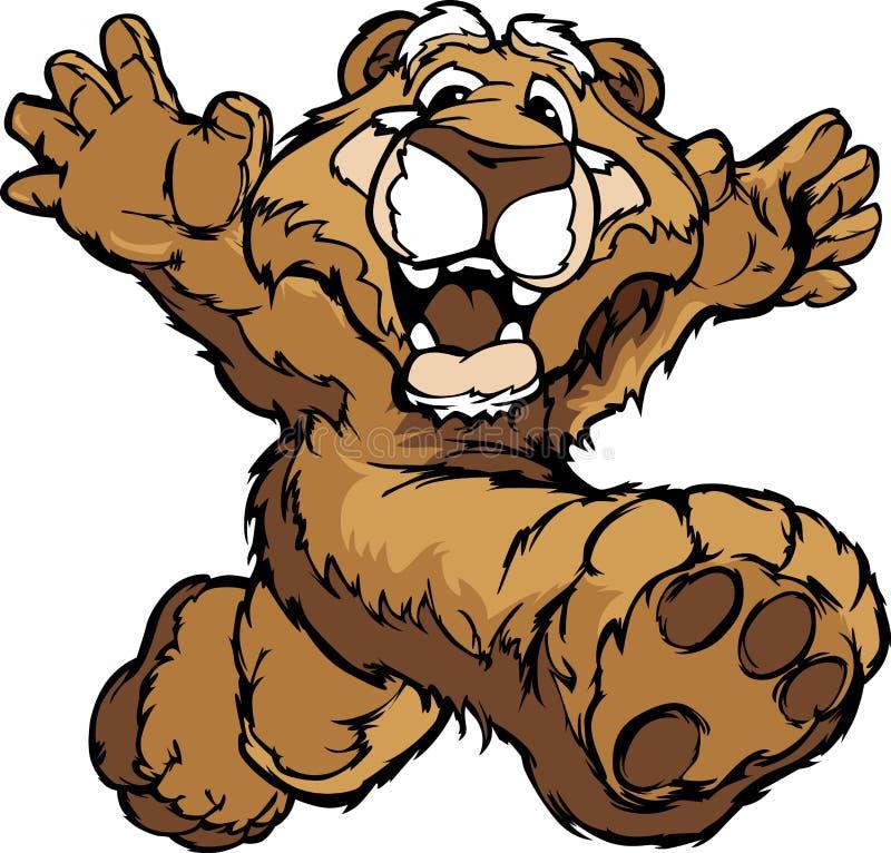 Happy Running Cougar or Mountain Lion. Smiling Mountain Lion or Cougar Running with Hands Mascot Illustration stock illustration