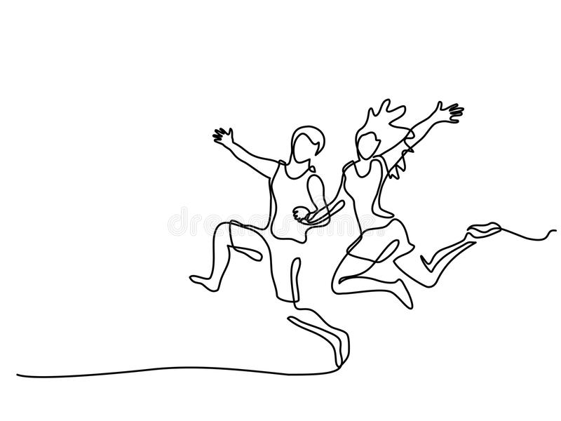 Happy running couple. Continuous one line drawing. Vector illustration on white background royalty free illustration