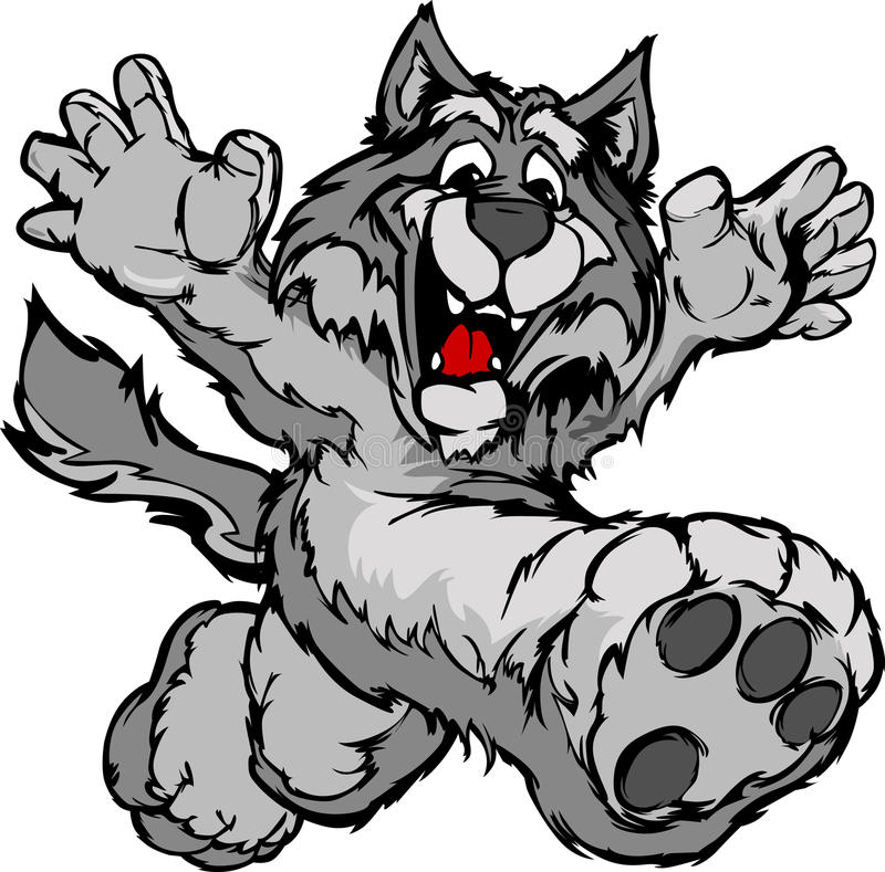 Happy Running Wolf or Coyote Mascot royalty free illustration