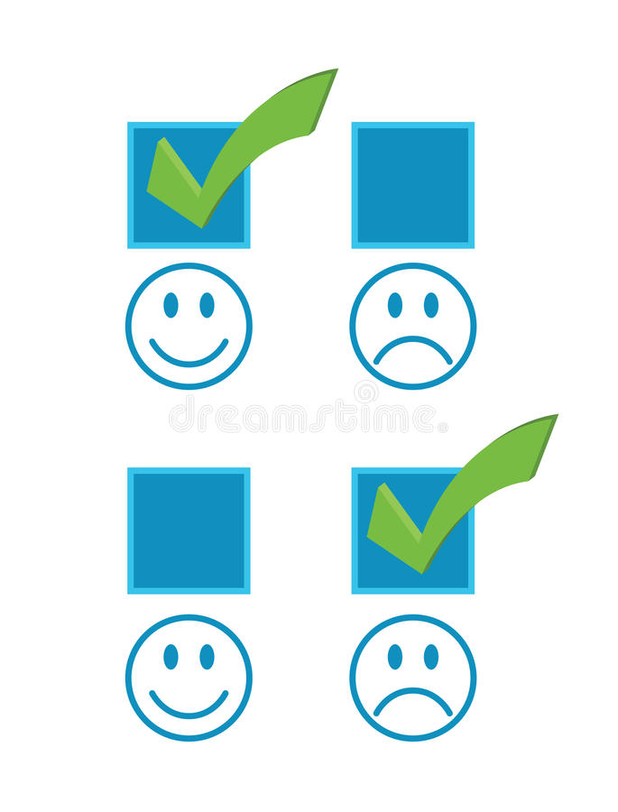 Happy And Sad Checkmark Faces Stock Image