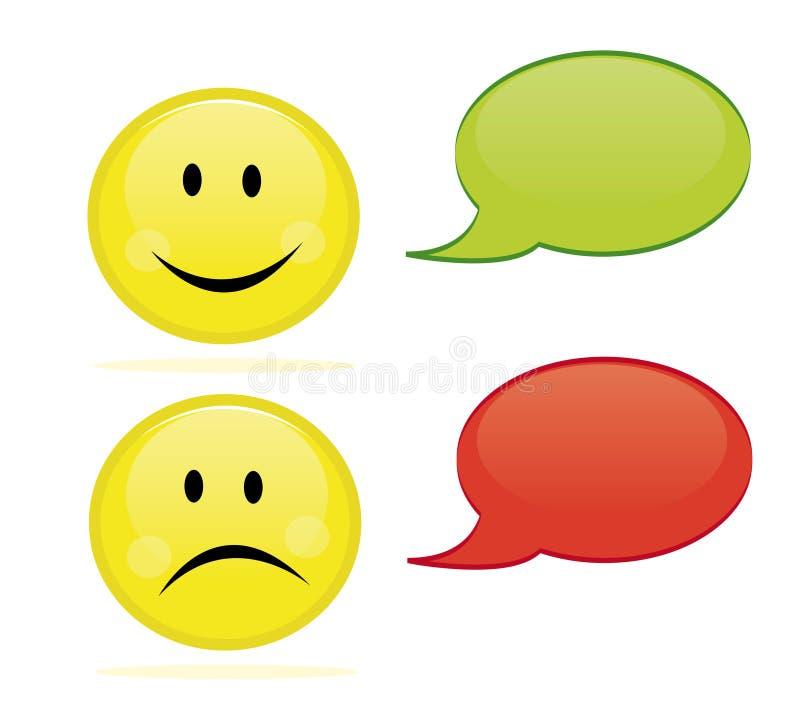 Happy and sad emoticon stock illustration