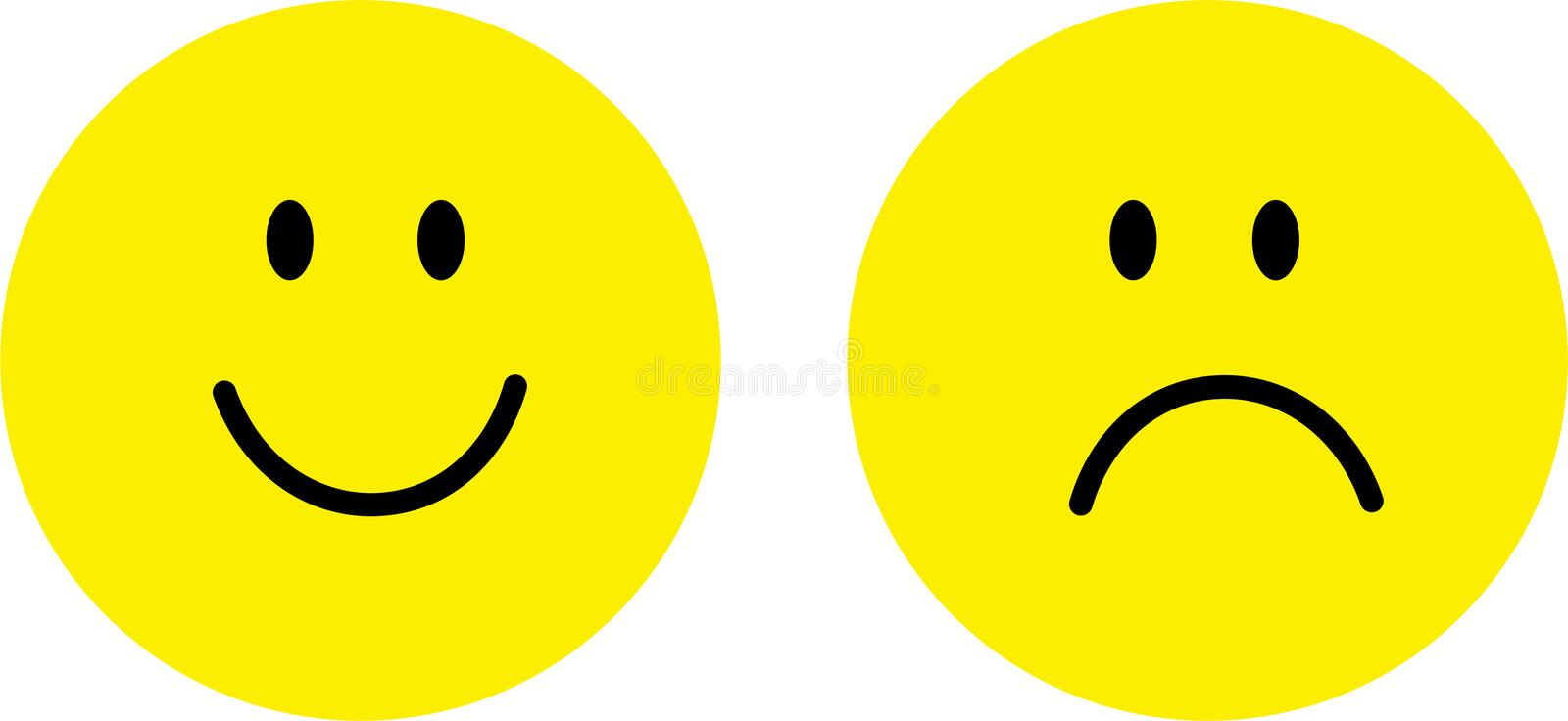 Happy and sad face vector illustration