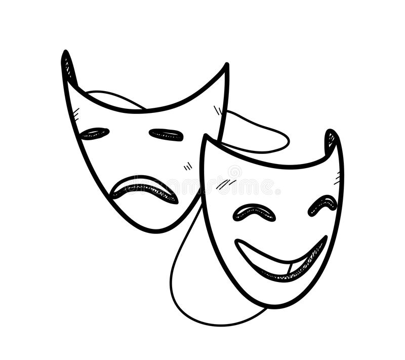 how to draw drama masks easy