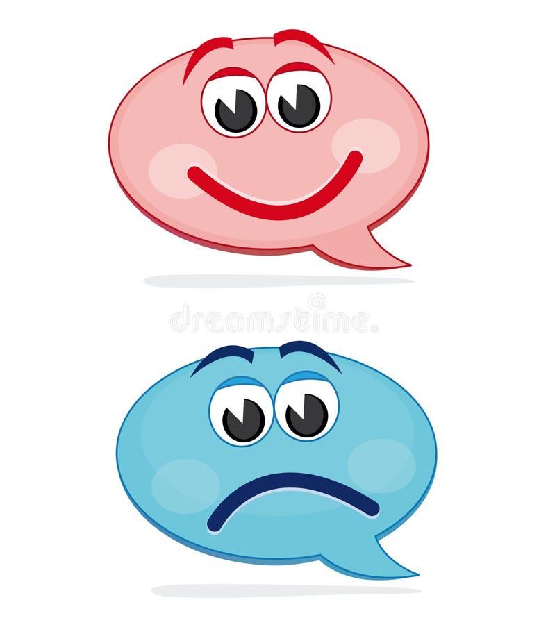 Happy and sad speech bubbles stock illustration