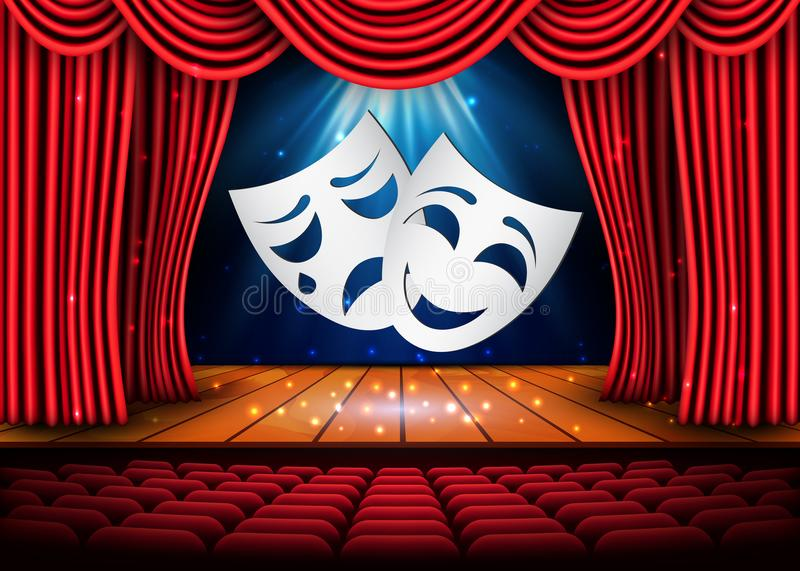 Happy and sad theater masks, Theatrical scene with red curtains. Stock vector illustration.  royalty free illustration