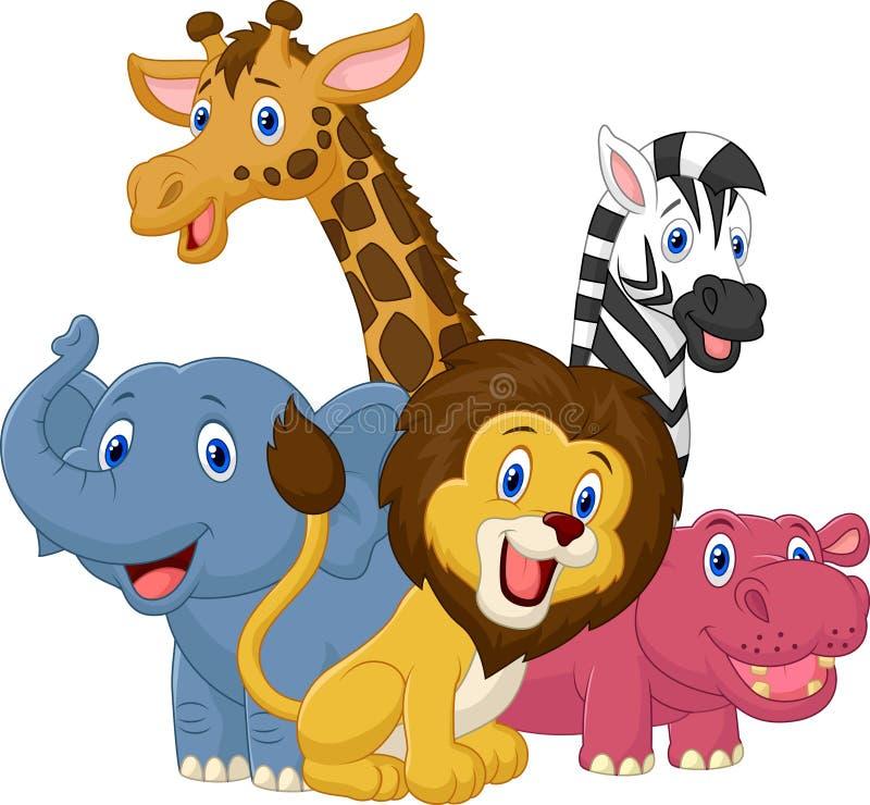 Happy safari animal cartoon stock illustration