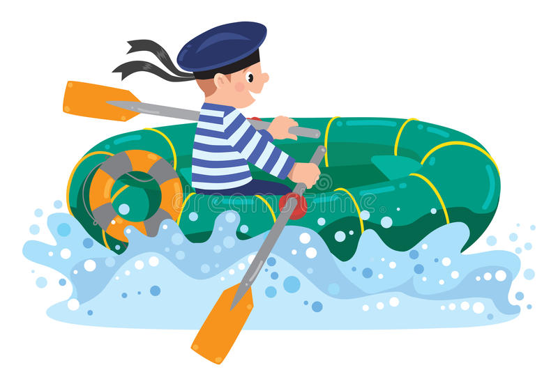 Happy sailor in boat stock illustration