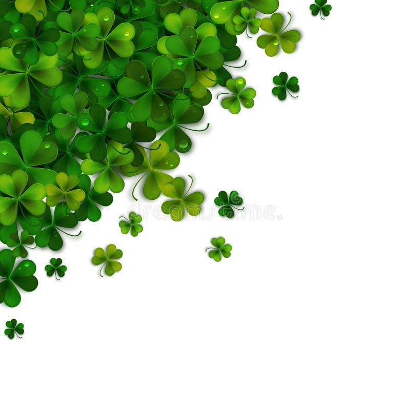 Happy Saint Patrick's day background design, postcard, template, invitation, green shamrock leaves, vector royalty free illustration