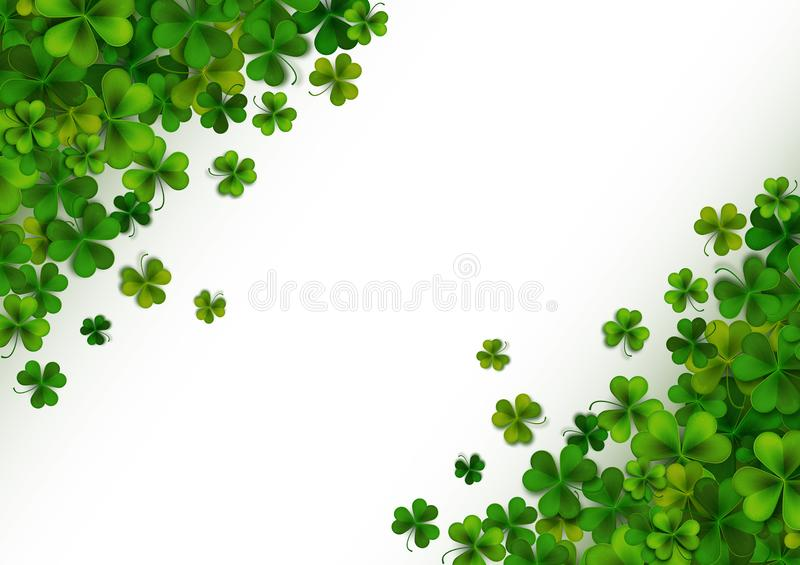 Happy Saint Patrick`s Day background with realistic green shamrock leaves, advertisement, banner template, vector illustration stock illustration