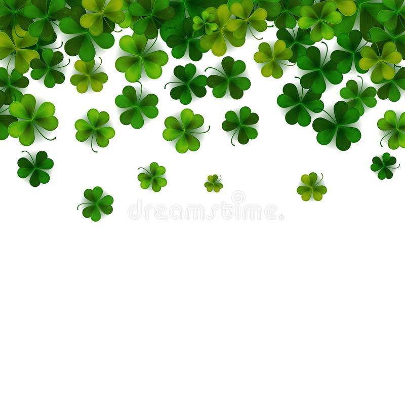 Happy Saint Patrick`s day background with realistic shamrock leaves, decorative frame template, vector illustration vector illustration