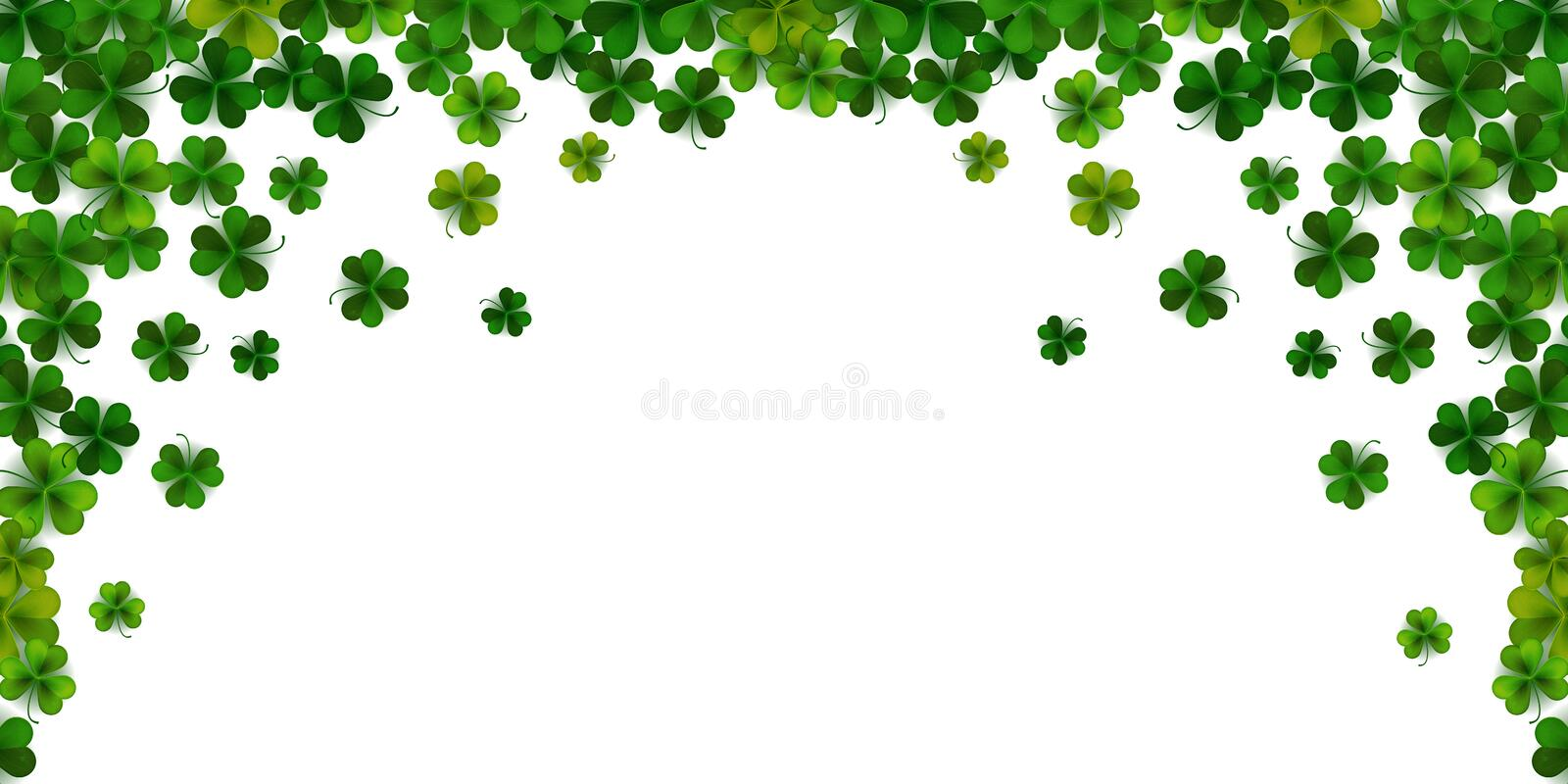Happy Saint Patrick`s day background with realistic shamrock leaves, decorative frame template, vector illustration stock illustration