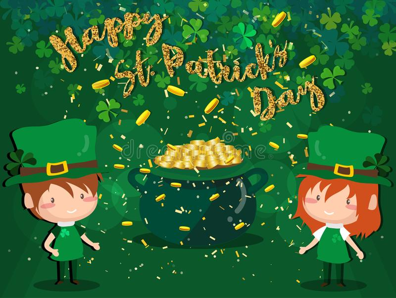 Happy Saint Patrick`s day Festival. Irish celebration .Green clover shamrock leaves on isolate background for poster, greeting car stock photography