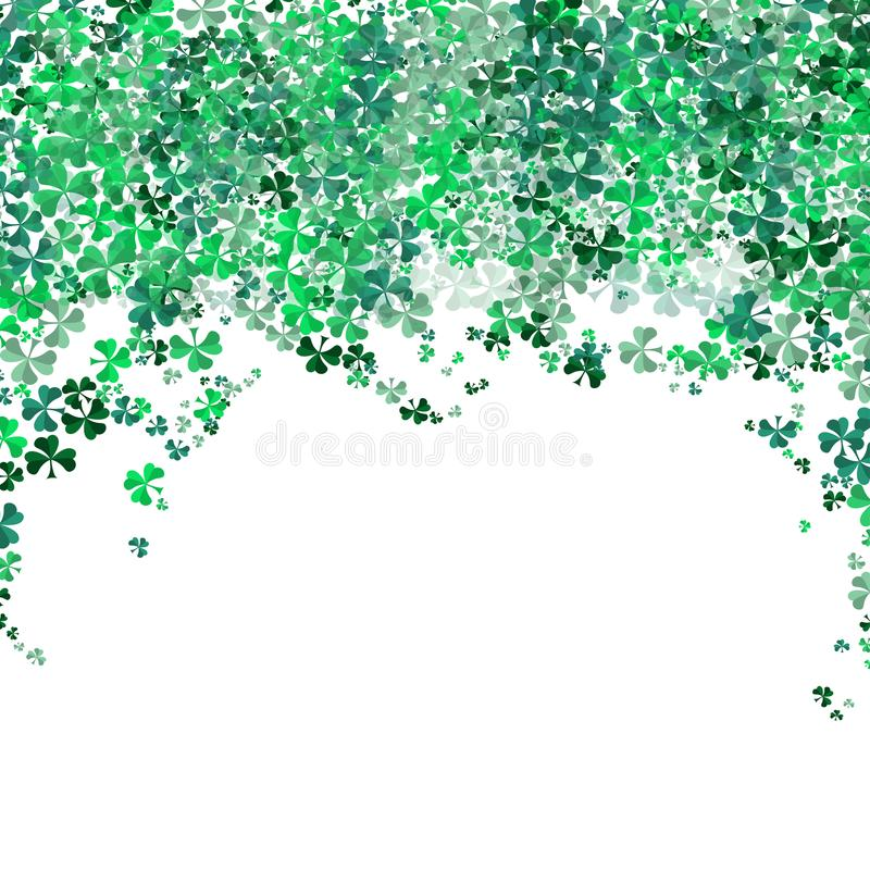Happy Saint Patrick`s day Festival. Irish celebration .Green clover shamrock leaves on isolate background for poster, greeting car royalty free stock photography
