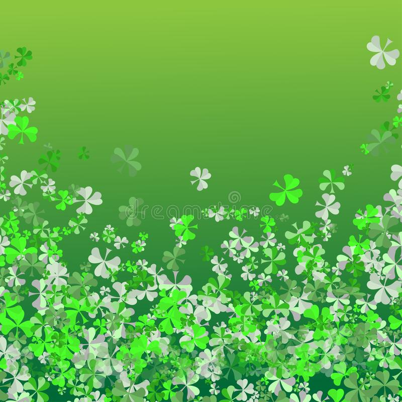 Happy Saint Patrick`s day Festival. Irish celebration . Green clover shamrock leaves on isolate background for poster, greeting ca stock photography