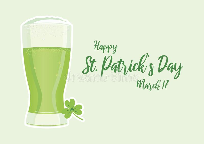 Happy Saint Patrick`s Day with green beer vector royalty free stock image