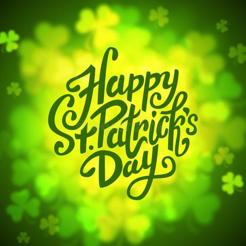Happy Saint Patrick's day lettering round banner on green shamrock background, vector vector illustration