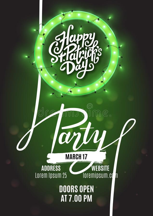 Happy Saint Patrick`s Day party flyer template retro neon heart with led lights, vector illustration stock illustration