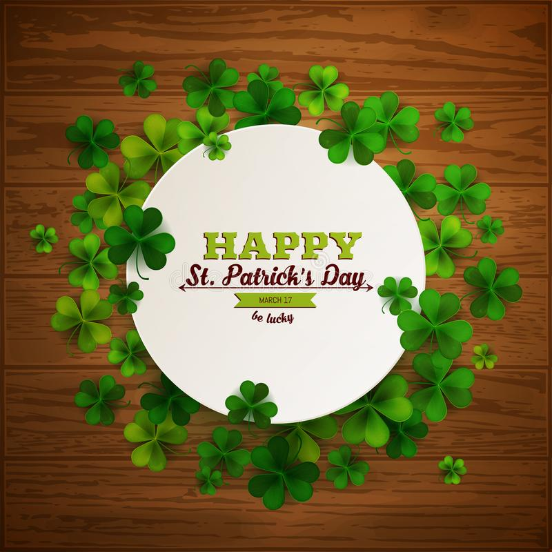 Happy Saint Patrick`s day, round paper banner with shamrock leaves on wood background, vector illustration vector illustration