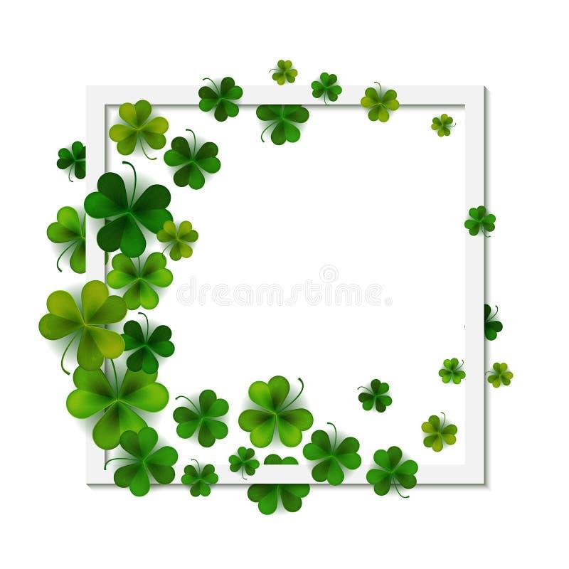 Happy Saint Patrick`s day, square frame banner on shamrock leaves background, vector illustration vector illustration