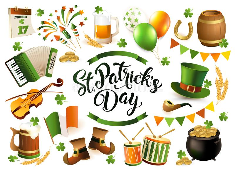 Happy Saint Patrick`s Day traditional collection. Irish music, flags, beer mugs, clover, pub decoration, leprechaun green hat, po royalty free illustration