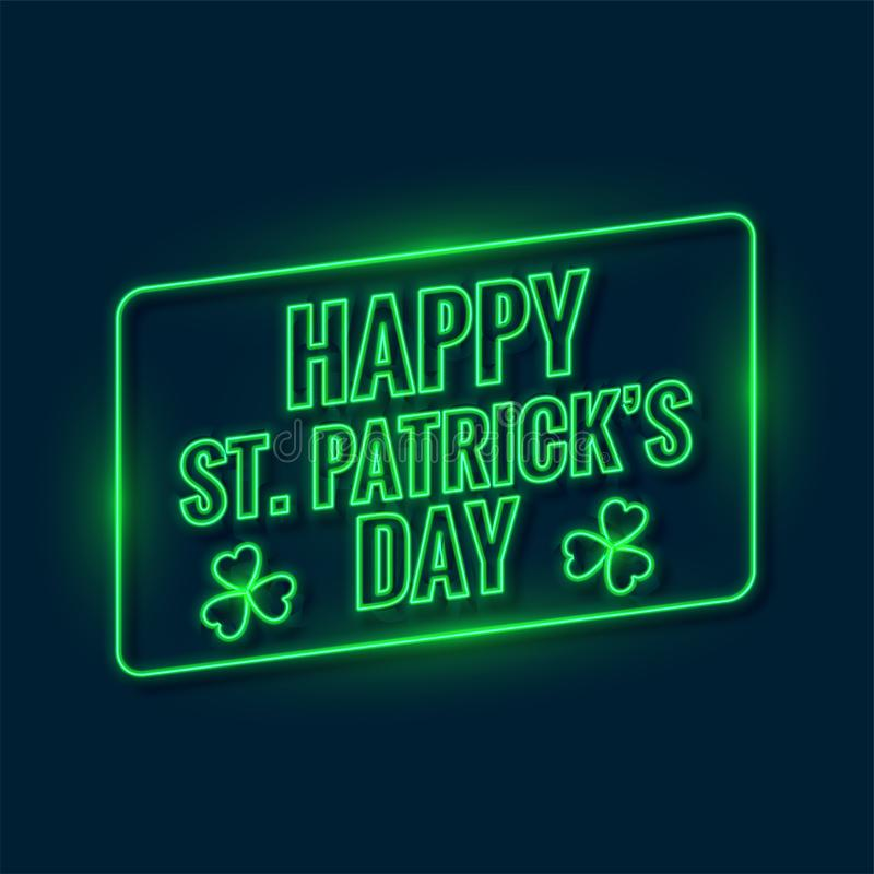 Happy saint patricks day written with green neon light background. Vector stock illustration