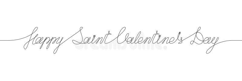 HAPPY SAINT VALENTIN`S DAY handwritten inscription. One line drawing of phrase royalty free illustration