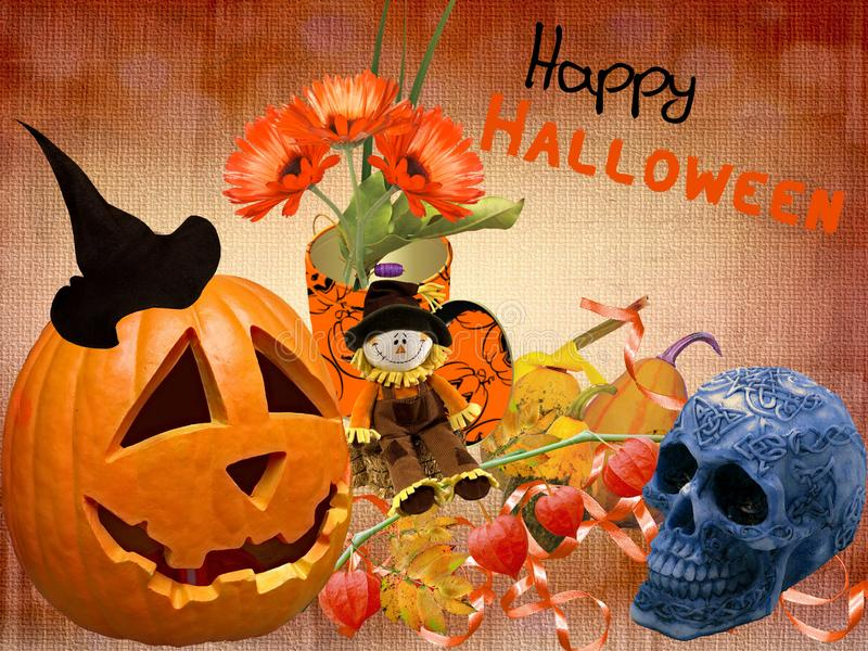 Happy Saints Day of Merry Halloween. Happy Halloween to everyone, a ripe pumpkin on the table and a good year !!! let all the bad things pass your house side stock photos