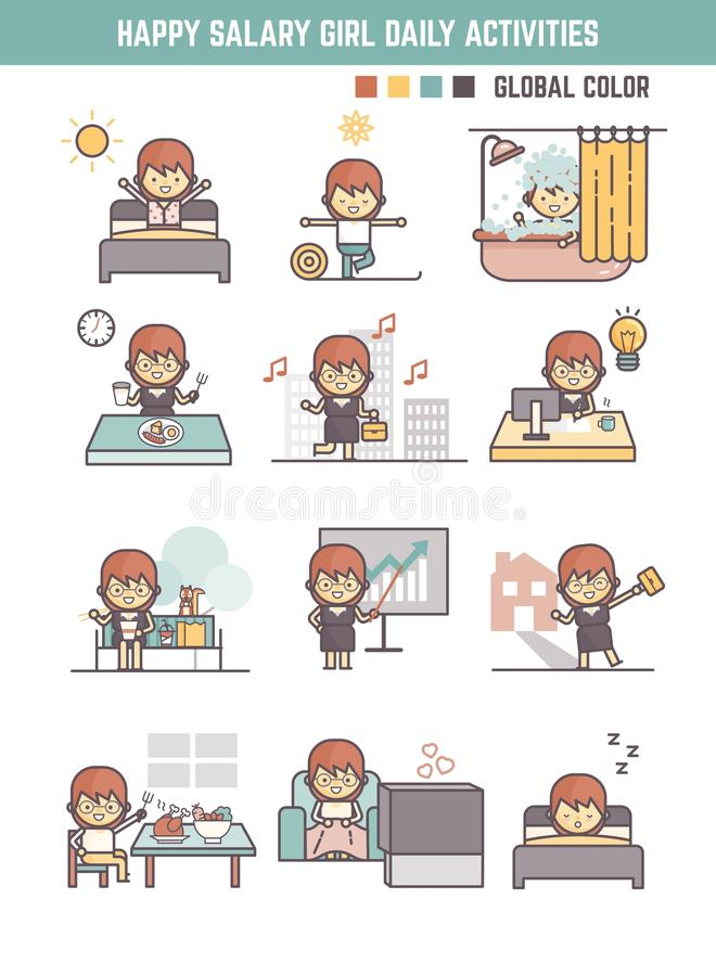 Animation Character Designer Salary : Happy salary girl daily life routine cartoon character