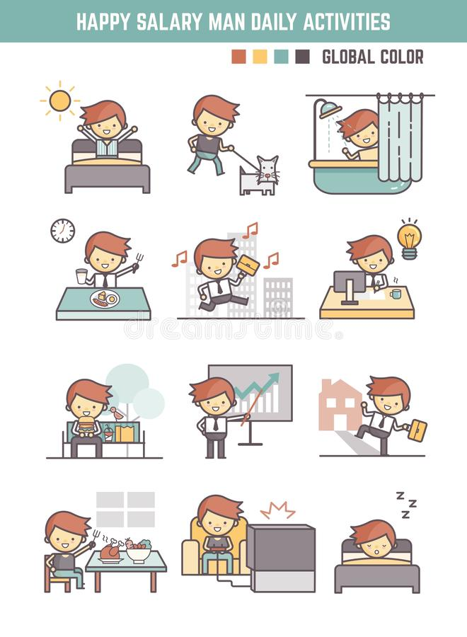 Happy salary man daily life working day routine vector vector illustration