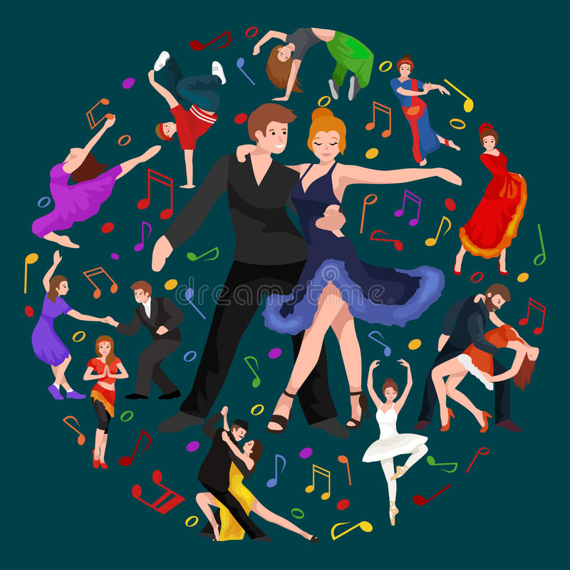 Happy Salsa dancers couple isolated on white icon pictogram royalty free illustration
