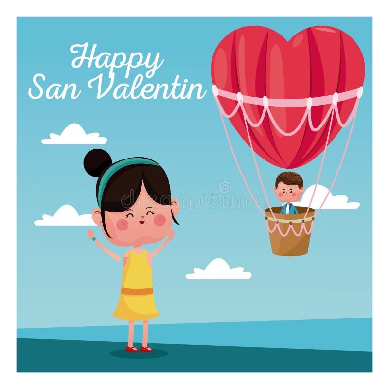 Happy san valentine girl happy boy heart airballoon valentine day blue sky. Vector illustration eps 10 royalty free illustration