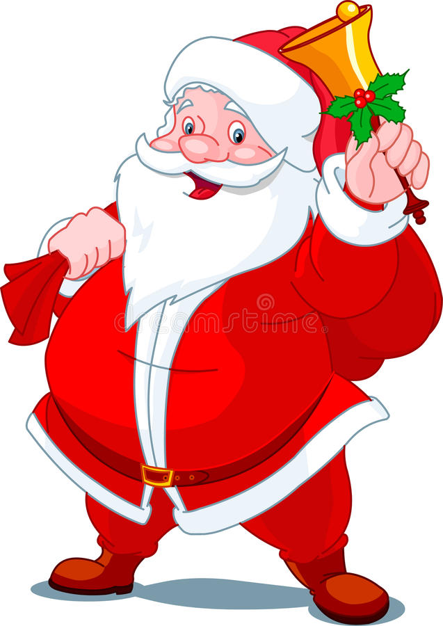 Happy Santa with bell stock illustration