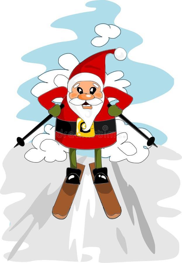 Happy santa calus on the ski vector illustration
