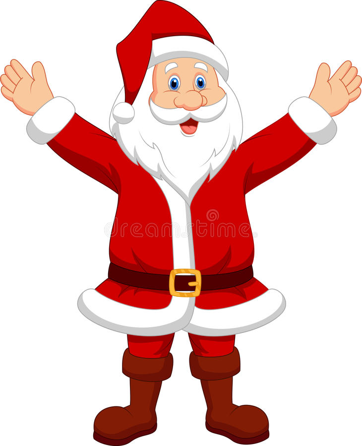 Happy santa cartoon waving hand stock photo image