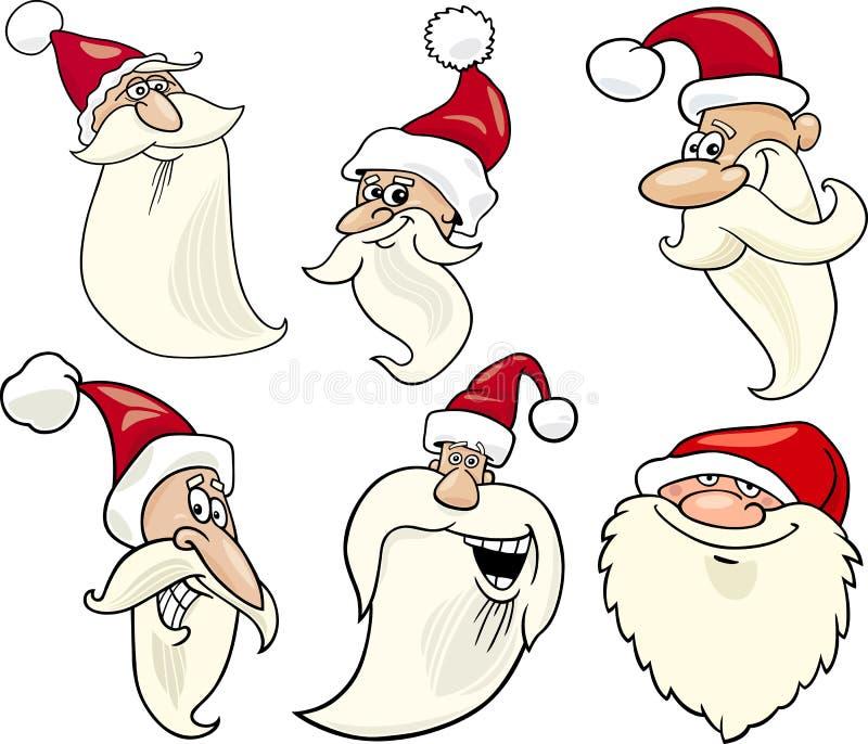 Happy Santa Claus Cartoon Faces Icons Set Royalty Free Stock Images