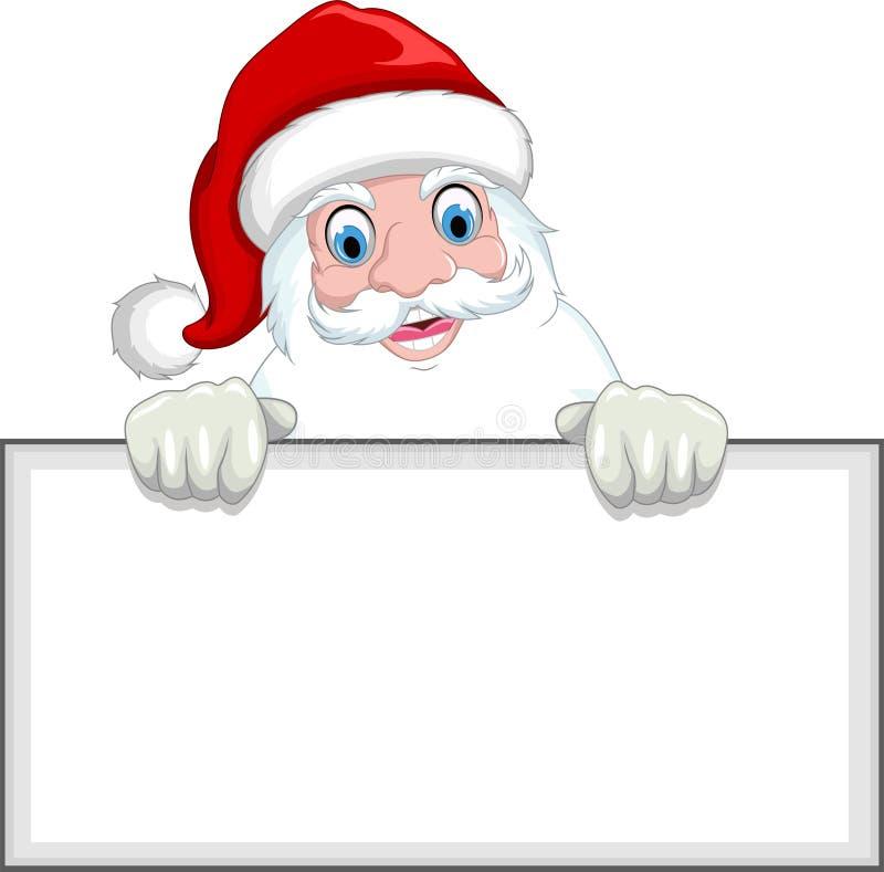 happy santa claus cartoon holding a blank sign stock illustration