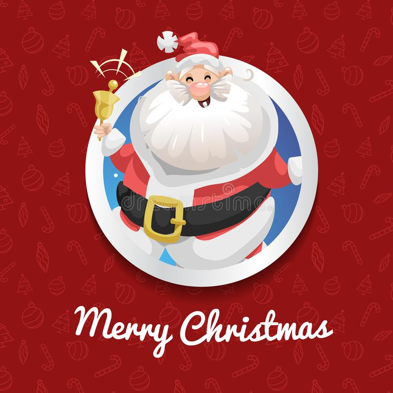 Happy Santa Claus in costume ringing bell and smiling. Christmas poster or banner. Cartoon style. Red pattern with icons backgroun. D. Vector illustration royalty free illustration