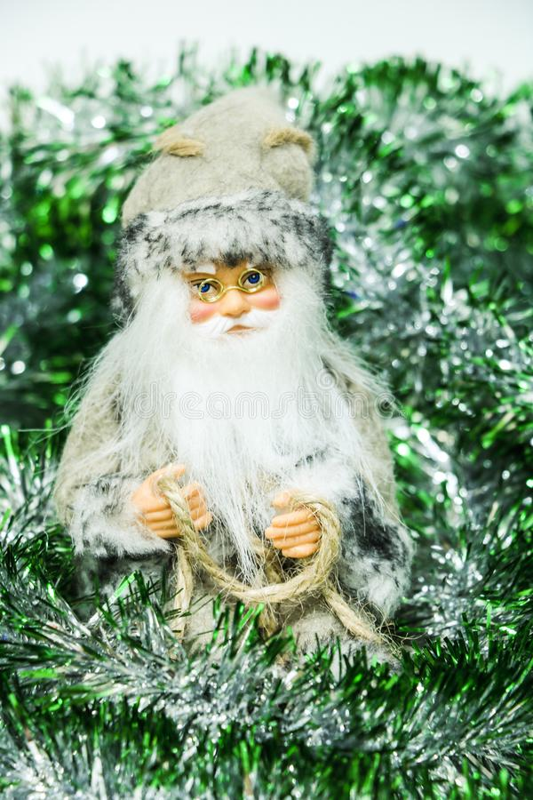 Happy Santa Claus Doll on Christmas time.colorful bokeh background.  royalty free stock image