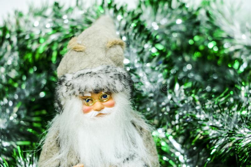 Happy Santa Claus Doll on Christmas time.colorful bokeh background.  royalty free stock photography