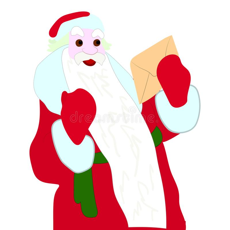 Happy Santa Claus holding a letter in his hands, character on a white background royalty free stock image