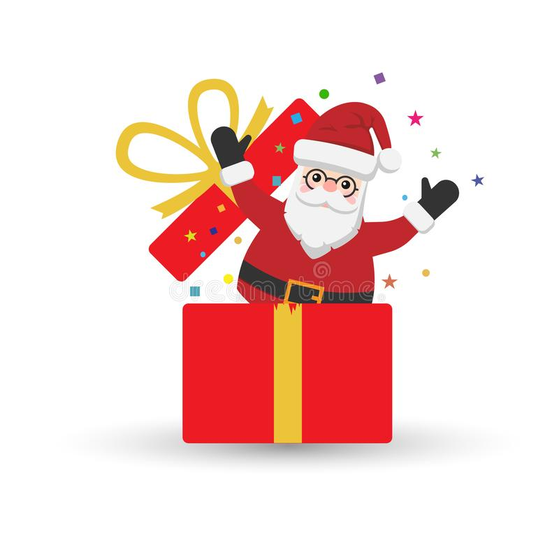 Happy Santa Claus icon in present box isolated on white background. Vector illustration. stock illustration