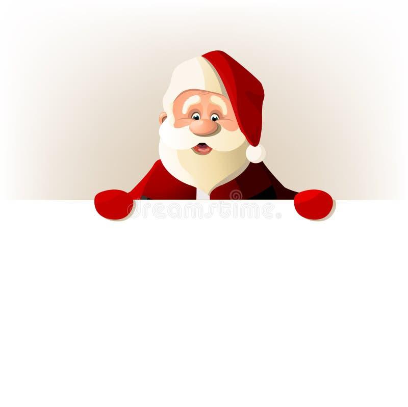Happy Santa Claus over white blank royalty free stock photo
