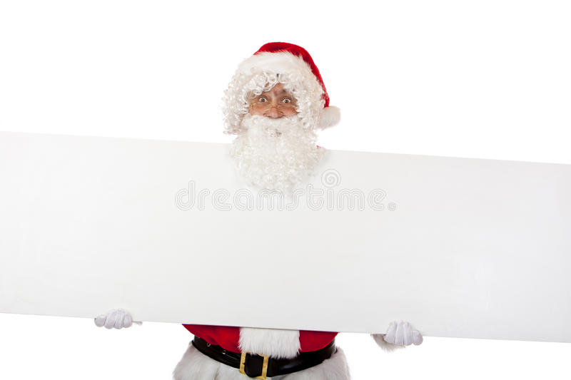 Happy Santa Claus shows Christmas special sign stock photos