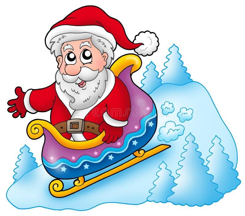 Happy Santa Claus on sledge. Color illustration stock illustration