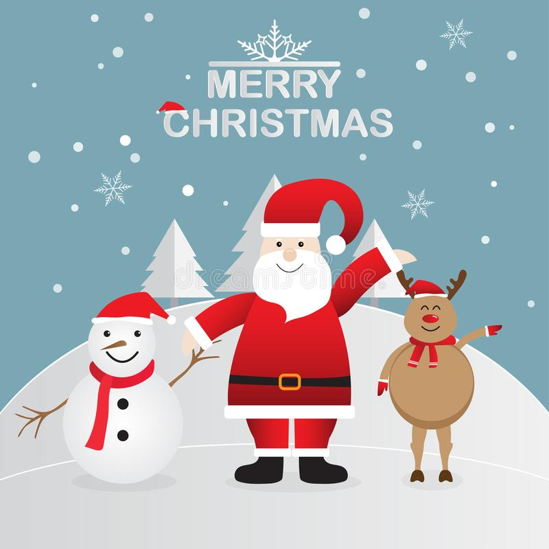 Happy Santa Claus with snowman and reindeer on winter background, Merry Christmas. Vector illustration royalty free illustration