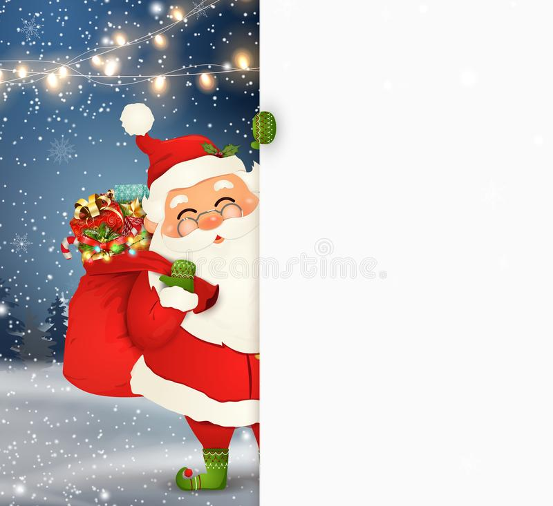 Happy Santa Claus standing behind a blank sign, showing on big blank sign. Cartoon Santa Claus character with gift bag vector illustration